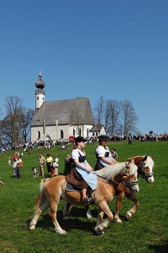 Stock Photo: 1848-230131 Georgiritt, George´s Ride, Easter Monday procession, Ettendorf Church, Traunstein, Chiemgau, Upper Bavaria, Bavaria, Germany, Europe