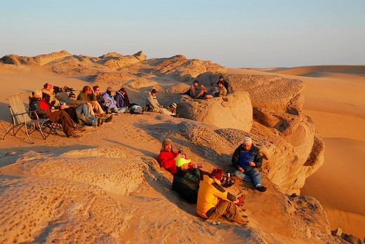 Sundowner in the dunes near Conception Bay, Diamond Area, Namibia : Stock Photo