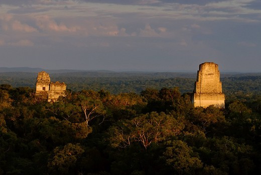 Mayan ruins of Tikal _ View from Temple IV to Temple I, Temple of the Giant Jaguar, II and V, Yucatan, Guatemala, Central America : Stock Photo