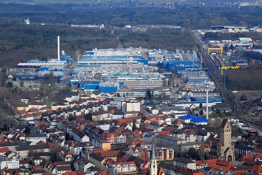 View of the Alcan aluminum factory, Singen am Hohentwiel, Baden_Wuerttemberg, Germany, Europe : Stock Photo