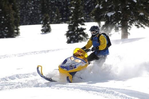 Stock Photo: 1848-231749 Snowmobile_action at Dunton Hot Springs, Colorado, USA