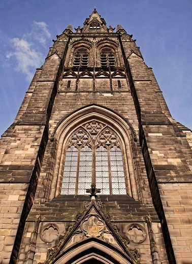 Neo_gothic church tower against blue sky, Lichfield, England, Europe : Stock Photo