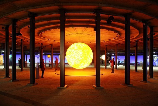 Stock Photo: 1848-232037 Three_dimensional representation of the Sun, Out of this World – Wonders of the Solar System, exhibition in the Gasometer, a former gas tank, Oberhausen, Ruhr Area, North Rhine_Westphalia, Germany, Europe