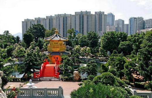 Stock Photo: 1848-23221 Chi Lin Nunnery and Chi lin Botanical Garden, pagodas, skyscrapers at back, Hong Kong, China, Asia