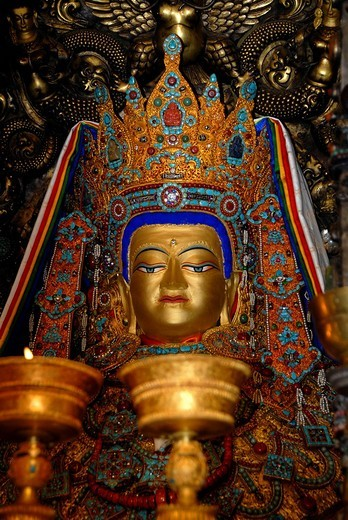 Stock Photo: 1848-232723 Tibetan Buddhism holy figure Jowo Shakiamuni Jokhang Lhasa Tibet China
