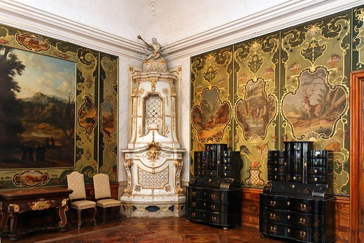 Historical hunting room, Goettweig, Lower Austria, Austria : Stock Photo