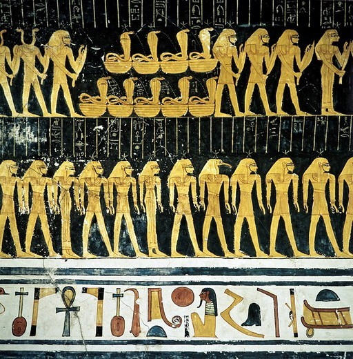 Stock Photo: 1848-233322 Hieroglyphs, grave relief, mural art depicting Egyptian gods, Luxor, Thebes, Egypt