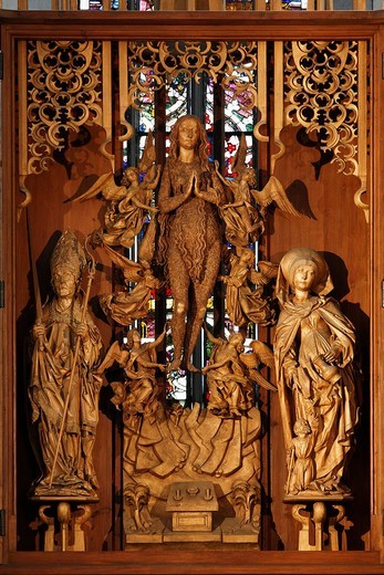 Stock Photo: 1848-233462 Carved Altar of St Mary Magdalene by Tilman Riemenschneider, Parish Church of St. Maria Magdalena, Muennerstadt, Rhoen Mountains, Lower Franconia, Bavaria, Germany, Europe