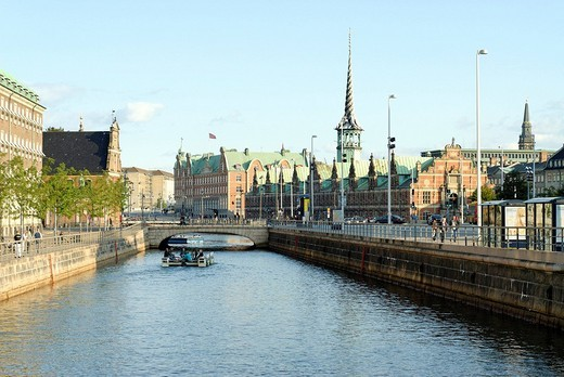 Stock Photo: 1848-233857 View of the Holmens canal and the building of the Danish Chamber of Commerce, Copenhagen, Denmark, Europe