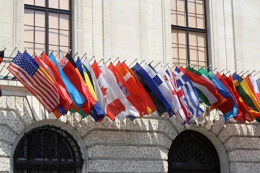 International flags, Hofburg Palace, Vienna, Austria : Stock Photo