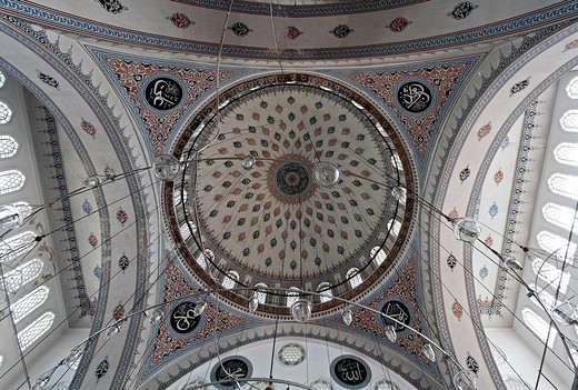Zal Mahmud Pasa Mosque, designed by the famous architect Sinan, view into the dome, Eyuep Muslim village, Golden Horn, Istanbul, Turkey : Stock Photo