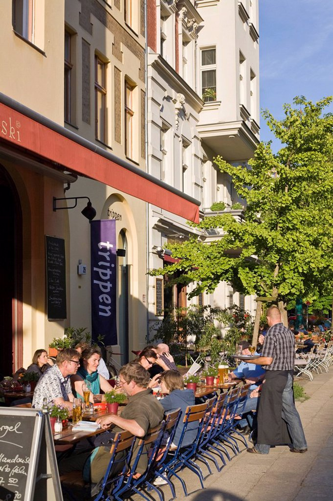 Stock Photo: 1848-23437 Street cafe on Kollwitzplatz square, Prenzlauer Berg district, Pankow, Berlin, Germany, Europe