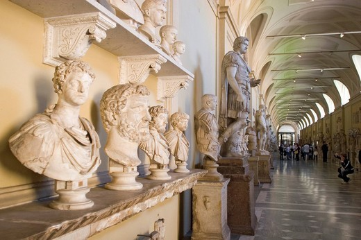 Hallway with busts, Vatican Museums , Rome , Lazio , Italy , Europe : Stock Photo