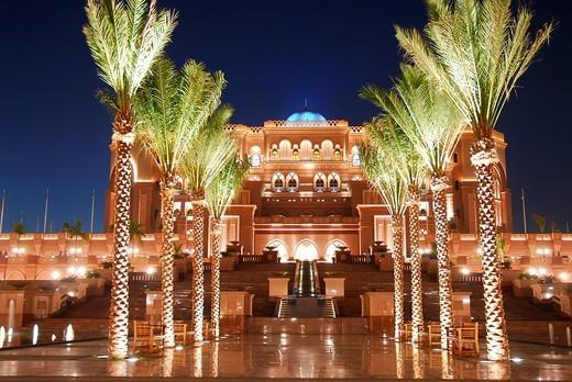 Emirates Palace Hotel by night, Abu Dhabi, United Arab Emirates, Abu Dhabi : Stock Photo
