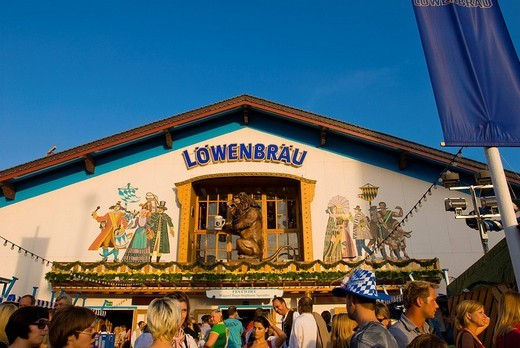Stock Photo: 1848-234986 Loewenbraeu Beertent, Octoberfest, Munich, Bavaria, Germany