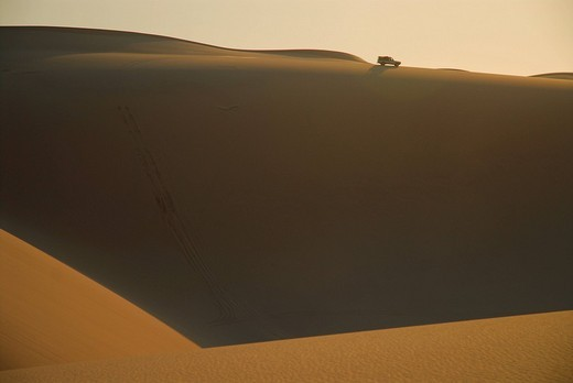 Jeep in the dunes at Conception Bay, Diamond Area, Namibia : Stock Photo