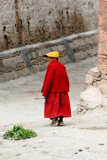 Monk, Paelkhor Choede Convent, Gyantse, Tibet : Stock Photo