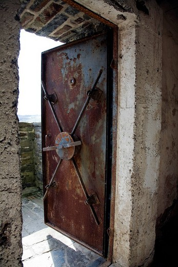 Former NS_Ordensburg Vogelsang National Socialist estate, steel door to the cellars, Eifel, North Rhine_Westphalia, Germany, Europe : Stock Photo