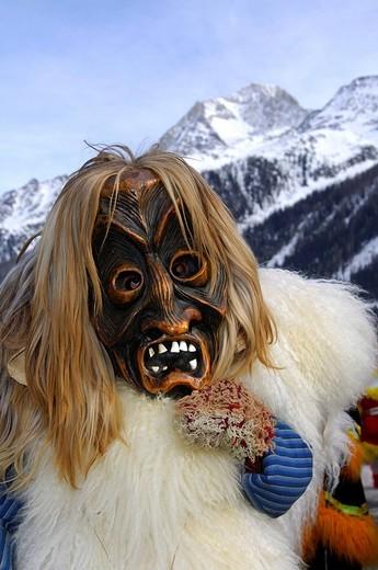 Stock Photo: 1848-235106 Tschaeggaetae, Carnival masks, Wiler, Loetschental, Valais, Switzerland