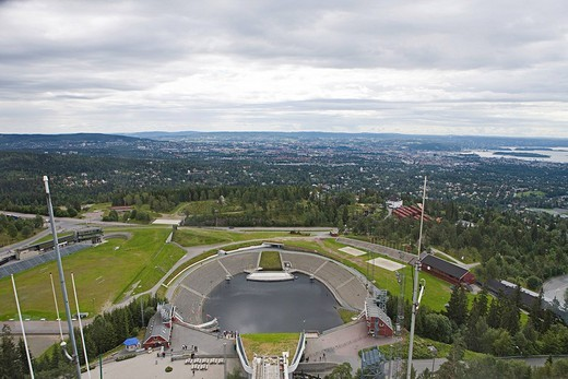View from the top of Holmenkollen Ski Jump, Holmenkollen, Oslo, Norway, Scandinavia, Europe : Stock Photo