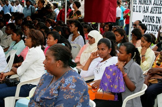 Women of various ethnic backgrounds protesting violence against women, Georgetown, Guyana, South America : Stock Photo