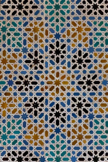 Alcazar, Arabian royal palace, tiles, mosaic, Barrio Santa Cruz, Seville, Andalusia, Spain, Europe : Stock Photo