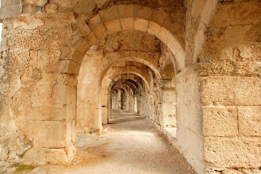 Stock Photo: 1848-235353 Hallway, Roman theatre, Aspendos, southern Turkey, Asia