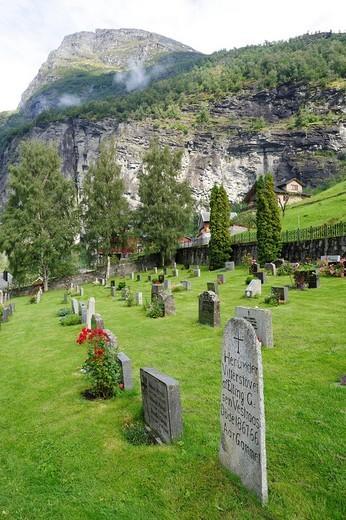 Geiranger church with cemetery, Geirangerfjord, Norway, Scandinavia, Northern Europe, Europe : Stock Photo