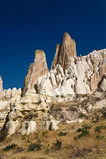 Tuff rock landscape near Goereme, Cappadocia, Central Anatolia, Turkey, Asia : Stock Photo
