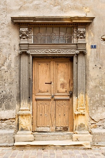 Old and dilapidated doorstep : Stock Photo