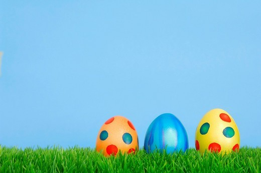 Colourful Easter eggs on grass : Stock Photo
