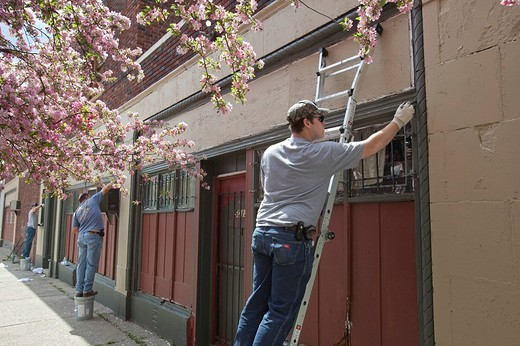 Volunteers from the U_SNAP_BAC community organization paint a building during a neighborhood cleanup campaign, Detroit, Michigan, USA : Stock Photo