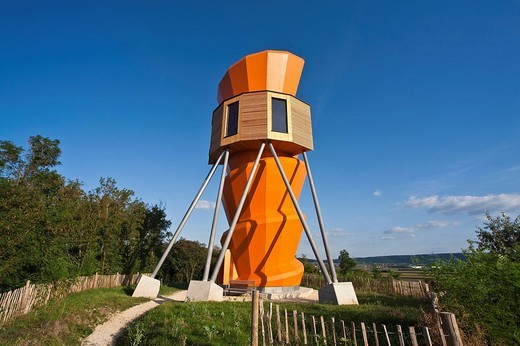 Observation tower in Fossils World in Stetten, Weinviertel, Wine Quarter, Lower Austria, Austria, Europe : Stock Photo