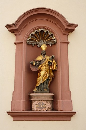 Statue of St. Nicolaus in Trier, Rhineland_Palatinate, Germany, Europe : Stock Photo