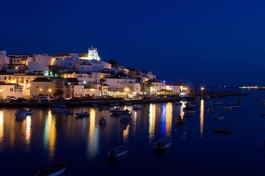 Ferragudo village at night, Algarve, Portugal, Europe : Stock Photo
