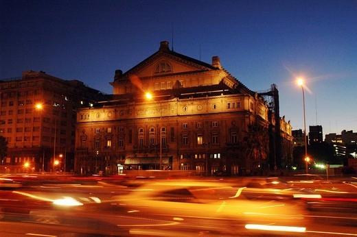 Stock Photo: 1848-236505 The Teatro Colon at the Avenida 9 de Julio at night, Buenos Aires, Argentine