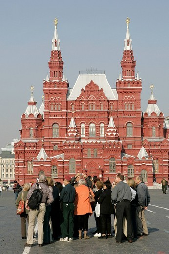 Stock Photo: 1848-237046 A group of tourists in front of the Historic Museum, Red Square, Moscow, Russia, Eurasia