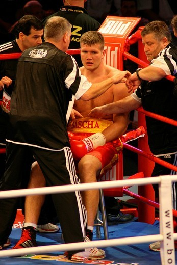 Boxer Alexander Dimitrenko during a heavyweight fight against Timo Hoffmann, Universum Champions Night, Magdeburg, Saxony_Anhalt, Germany, Europe : Stock Photo