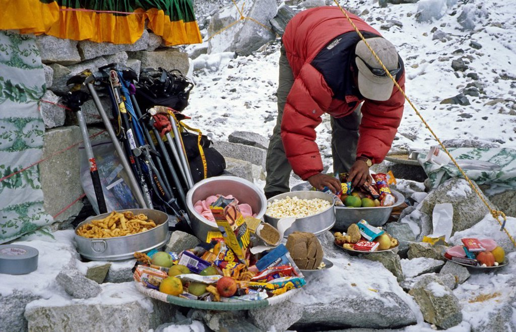 Stock Photo: 1848-23712 Sherpa at a Puja ceremony for the goddess Miyo Langsangma, Base Camp, 5300m, Mount Everest, Himalaya, Nepal