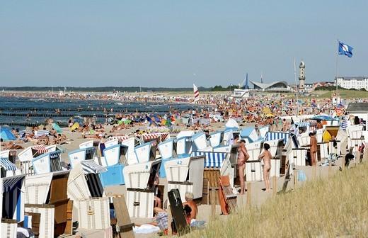 Beach, dunes at the Baltic Sea resort town of Warnemuende, Rostock region, Mecklenburg_Western Pomerania, Germany, Europe : Stock Photo