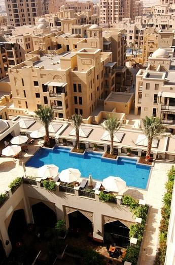 Swimming pool at the Al Manzil Hotel in Dubai, United Arab Emirates, UAE, Middle East : Stock Photo