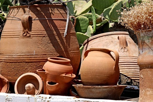 Clay and ceramic pots, Lychnostatis Open Air Museum, museum of traditional Cretan life, Hersonissos, Crete, Greece, Europe : Stock Photo
