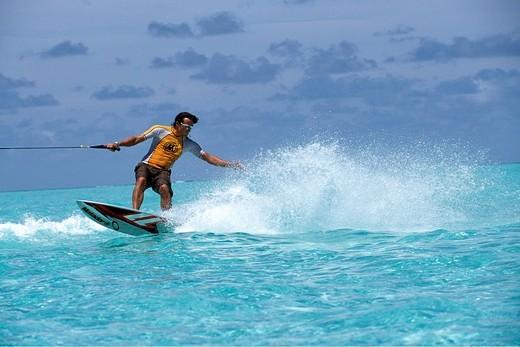 Wake boarding, Olhuveli, South Atoll, Maldives : Stock Photo