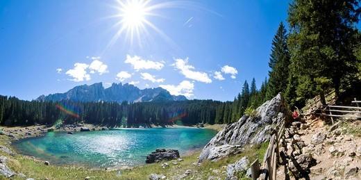 Stock Photo: 1848-238861 Karer lake Lago di Carezza Latemar, Dolomites, South Tyrol, Italy