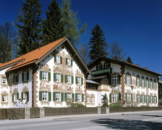 Hansel and Gretel Home, facade painted by Marie Mattfeld, Oberammergau, Upper Bavaria, Bavaria, Germany, Europe : Stock Photo