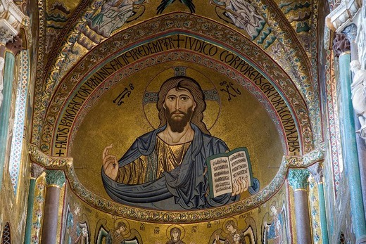 Stock Photo: 1848-23924 Christus Pantokrator mosaic in the apsis of the cathedral, Cefalu, Sicily, Italy