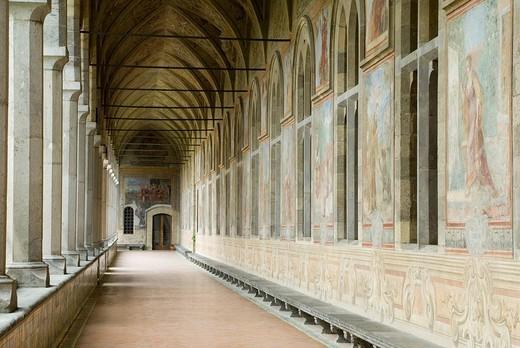 Frescoes in the cloister of the Church of Santa Chiara, Naples, Campania, Italy : Stock Photo