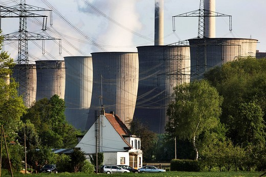 Coal power station Scholven belonging to the company E.ON Kraftwerke GmbH, Gelsenkirchen, North Rhine_Westphalia, Germany, Europe : Stock Photo