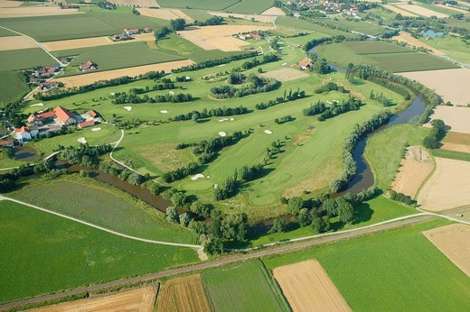 Rott River, golf course, Bad Griesbach, aerial photo, Lower Bavaria, Bavaria, Germany, Europe : Stock Photo