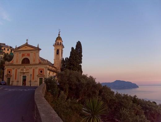 Baroque parish church, Sant´Ilario quarter, Genoa, Liguria, Italy, Europe : Stock Photo